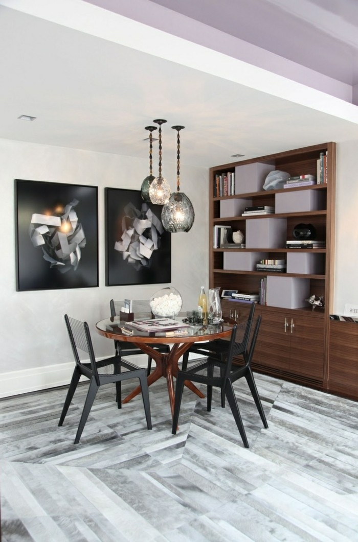 wohnideen esszimmer hervorragende kombination von farben und designs wandbilder und hängelampen