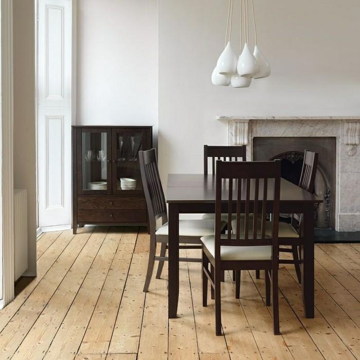 wohnideen esszimmer schicke weiße hängelampen kombinieren sich schön mit den braunen möbelstücken