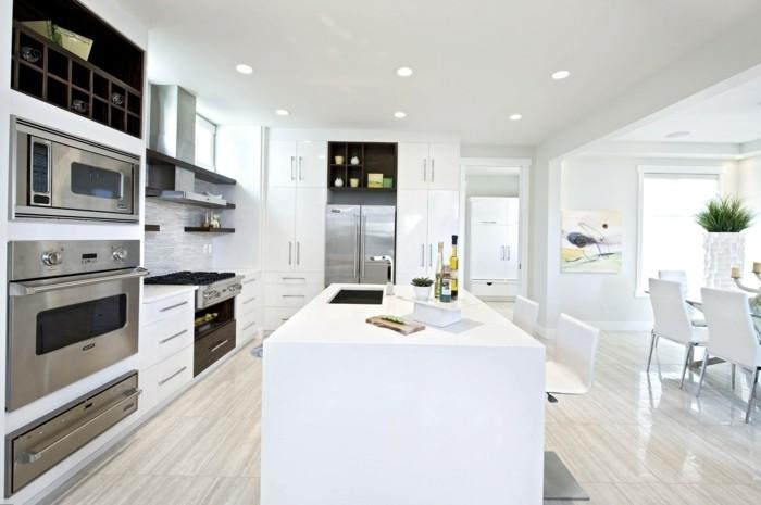 wohnideen küche weißes interieur und bodenbelag mit schöner optik
