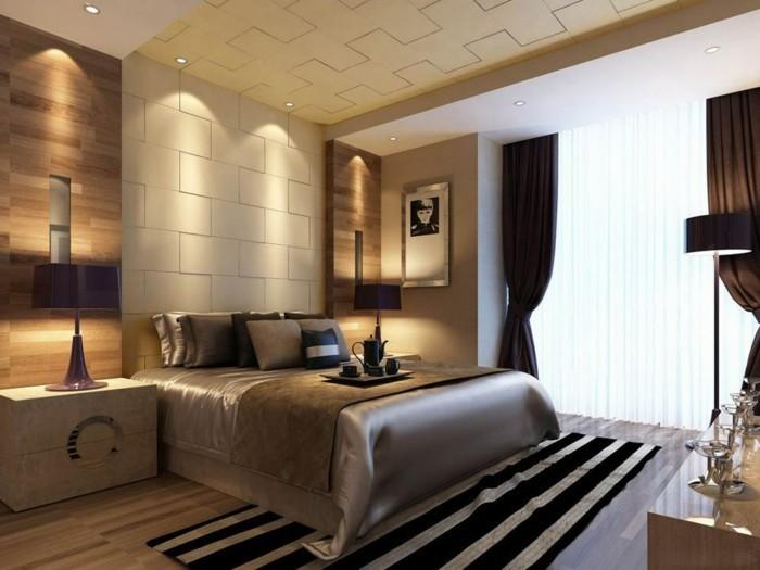 wohnideen schlafzimmer streifenteppich und schöne wandgestaltung