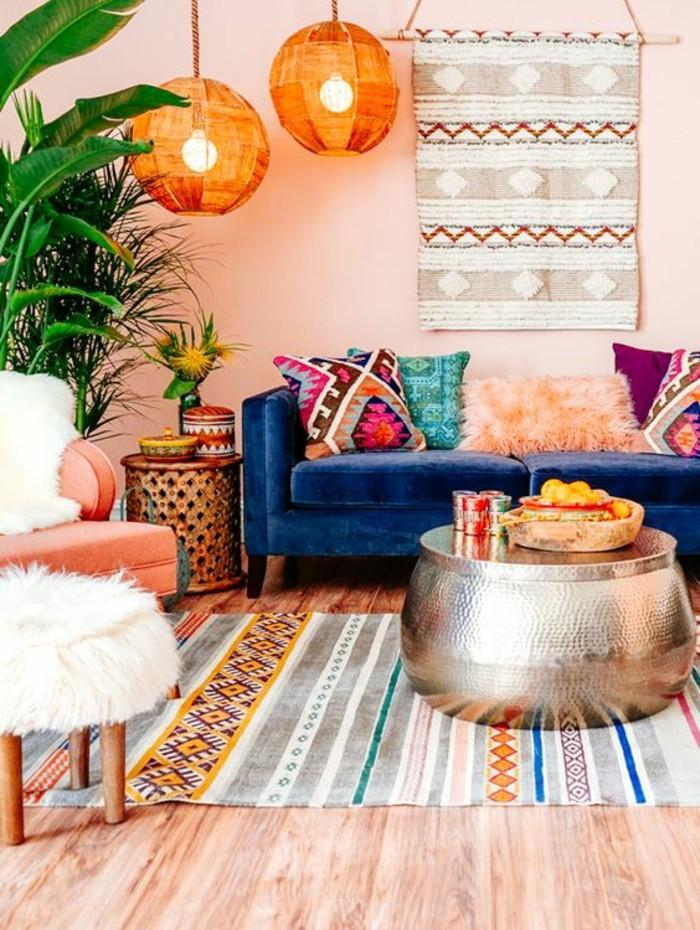 wohnideen wohnzimmer auffällige deko in krassen farbtönen