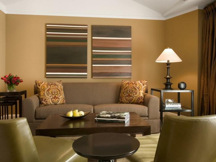 wohnideen wohnzimmer beige wohnzimmerwände und stilvolle dekokissen
