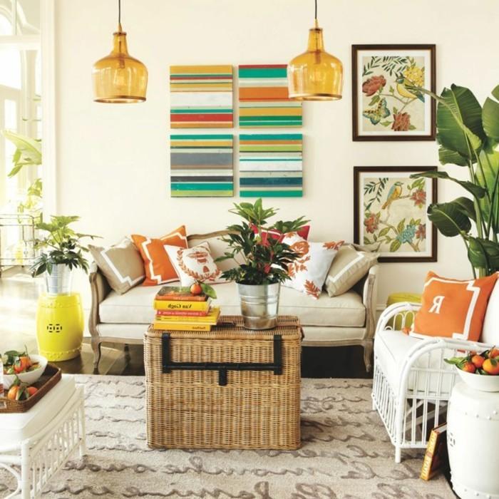 wohnideen wohnzimmer dekoideen mit pflanzen und dekokissen