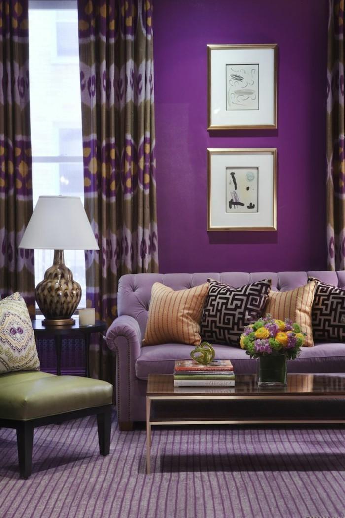 wohnideen wohnzimmer lilanuancen passend kombinieren