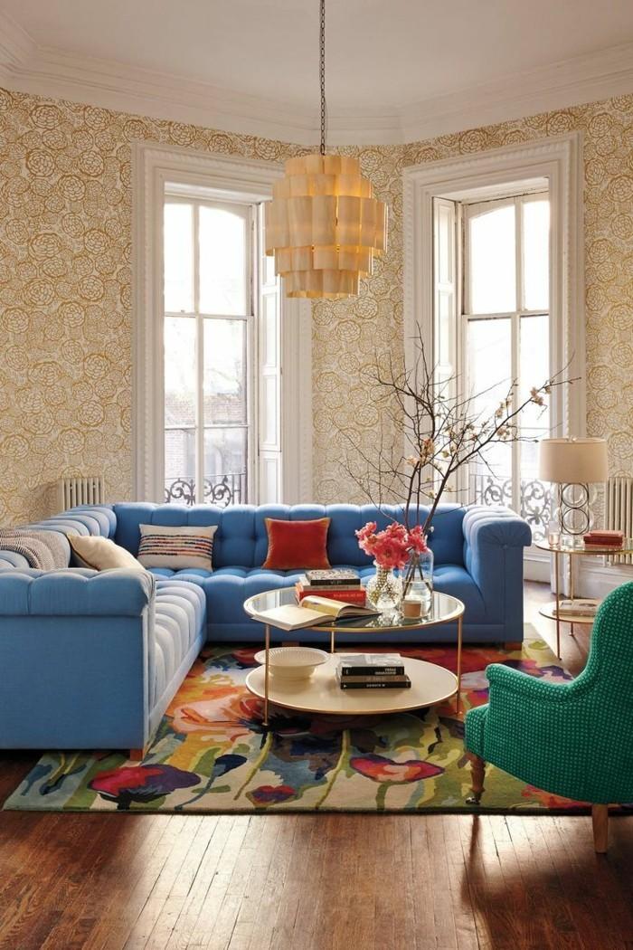 wohnideen wohnzimmer wunderschöne tapeten und bunter teppich