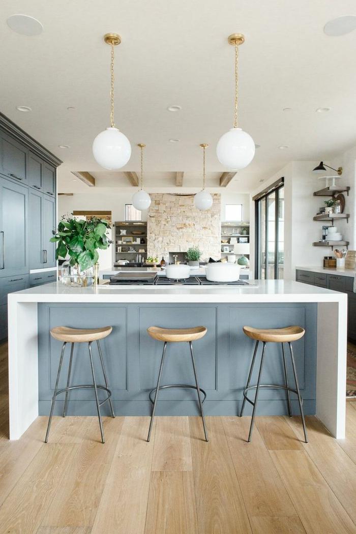 Ordinaire Wohnküche Kücheneinrichtung In Weiß Grau Offene Küche U2013 44 Ideen, Wie Sie  Die Küche Trendig Und Super Funktional Einrichten | Einrichtungsideen ...
