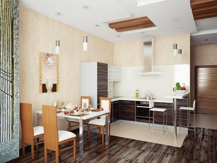 wohnküche kleine küche mit gemütlichem essbereich und wunderschönem bodenbelag
