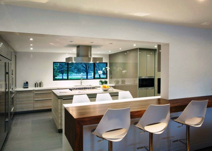 wohnküche moderne offene küche mit schöner beleuchtung