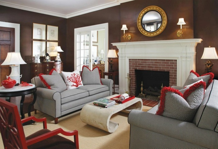 dekoideen braunes wohnzimmer durch weiß aufpeppen