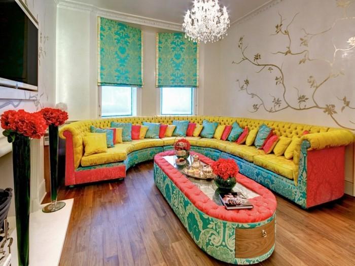 wohnzimmer gestalten dekoideen mit blumen und krassen farben
