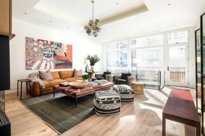 wohnzimmer gestalten farebige wanddeko und schöne textilien kombinieren
