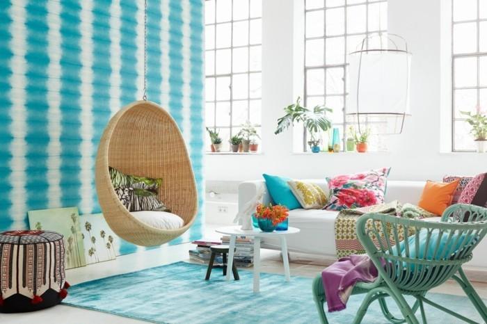 wohnzimmer gestalten frische dekoideen mit unterschiedlichen mustern