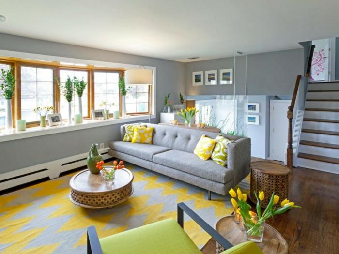 wohnzimmer gestalten gelb als akzent im modernen wohnzimmer