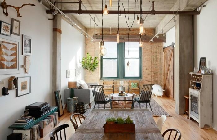 wohnzimmer gestalten industrielles wohnzimmer mit ziegelwand und pflanze