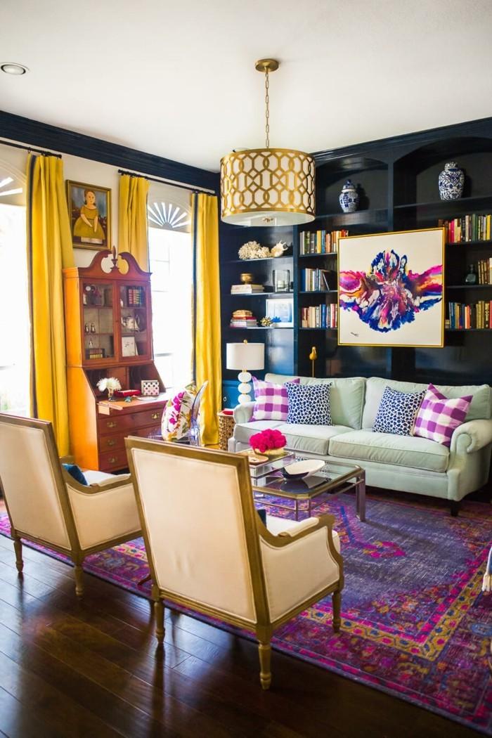 wohnzimmer gestalten und verschönern mit blumen und frischen mustern