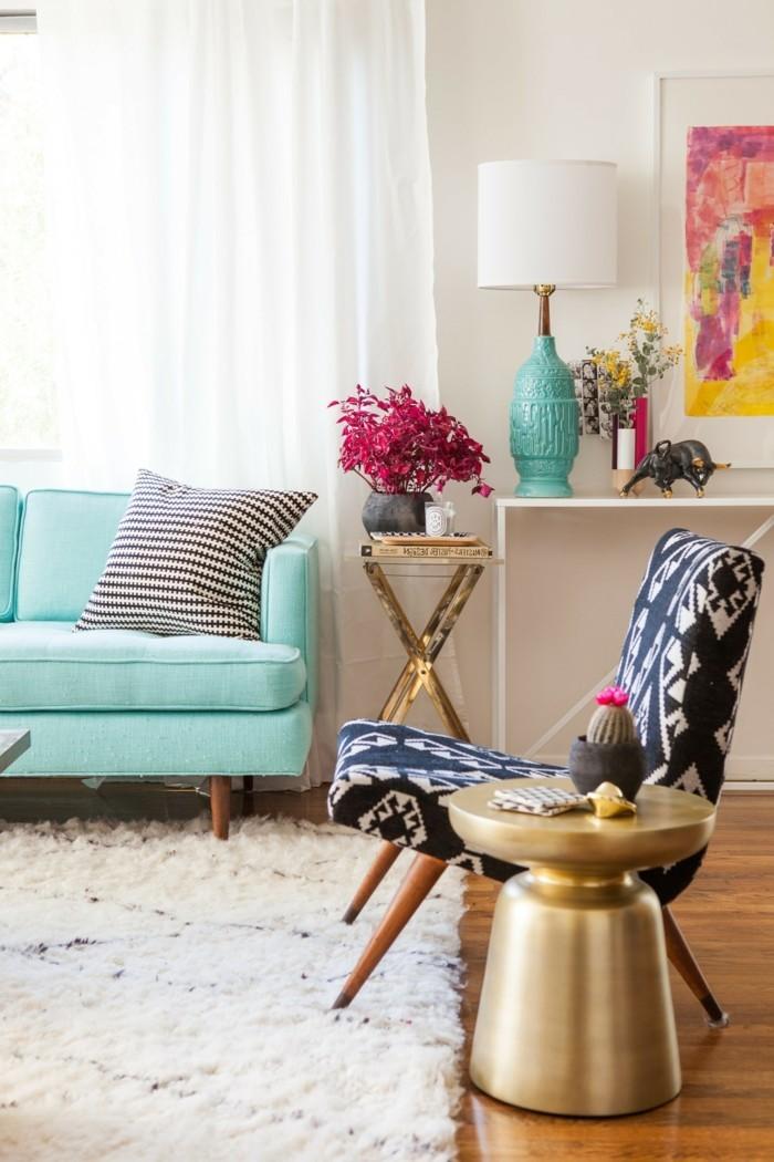 wohnzimmer gestalten vintage möbel und frische akzente