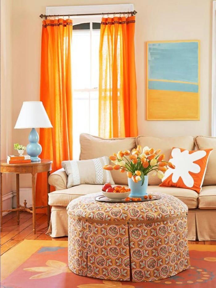 wohnzimmer gestalten warme farben und frische muster