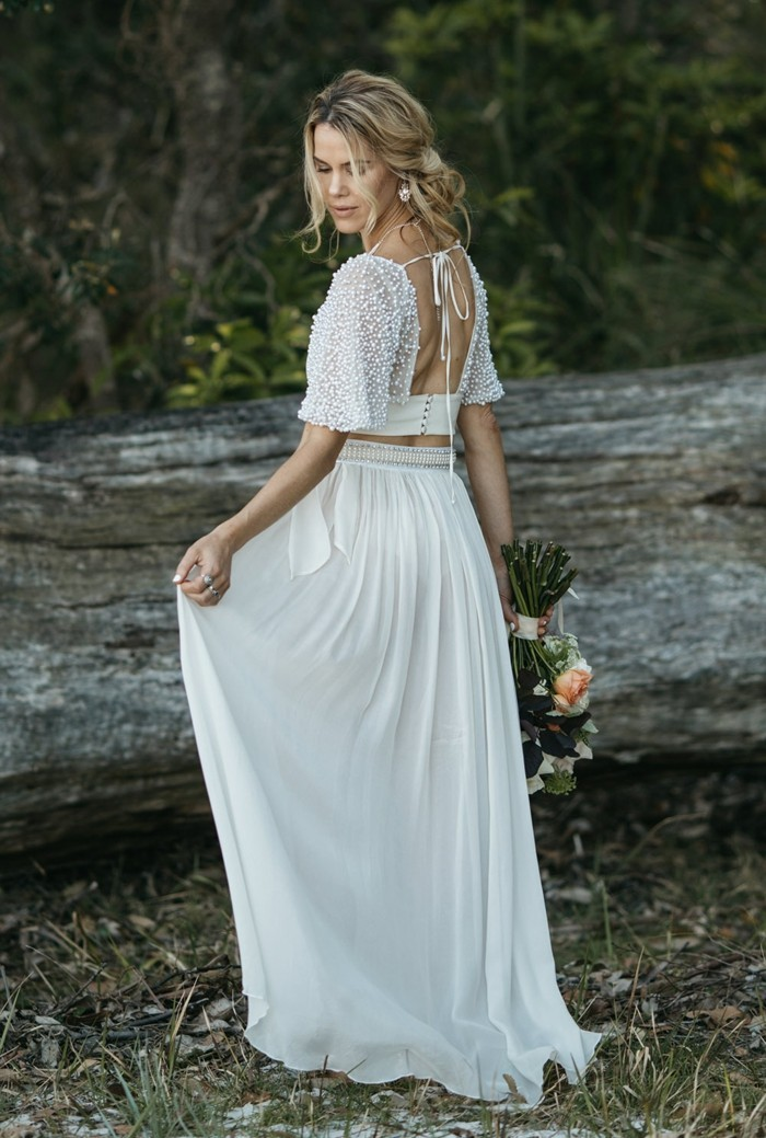 zweiteiliges brautkleid weiss oberteil rock hochzeitskleid