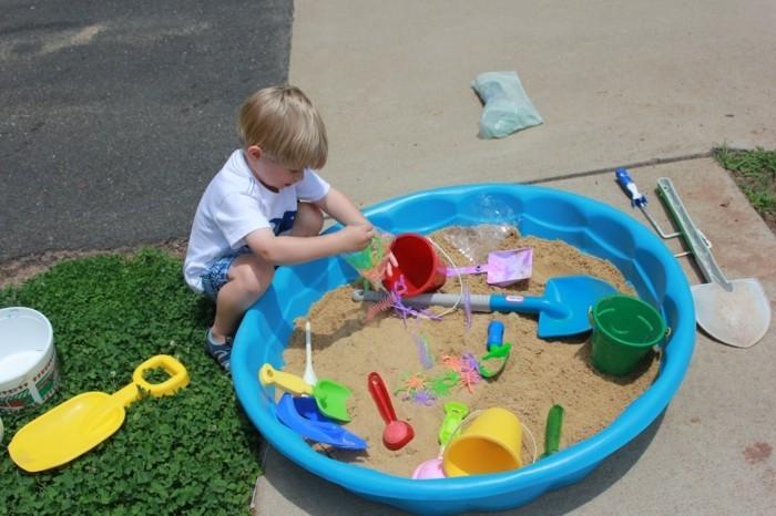 Sandkasten selber bauen spielplattform kombiniert gekauft
