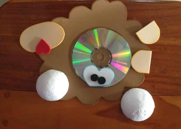 alte cd basteln mit kleinkindern karton mashmallows