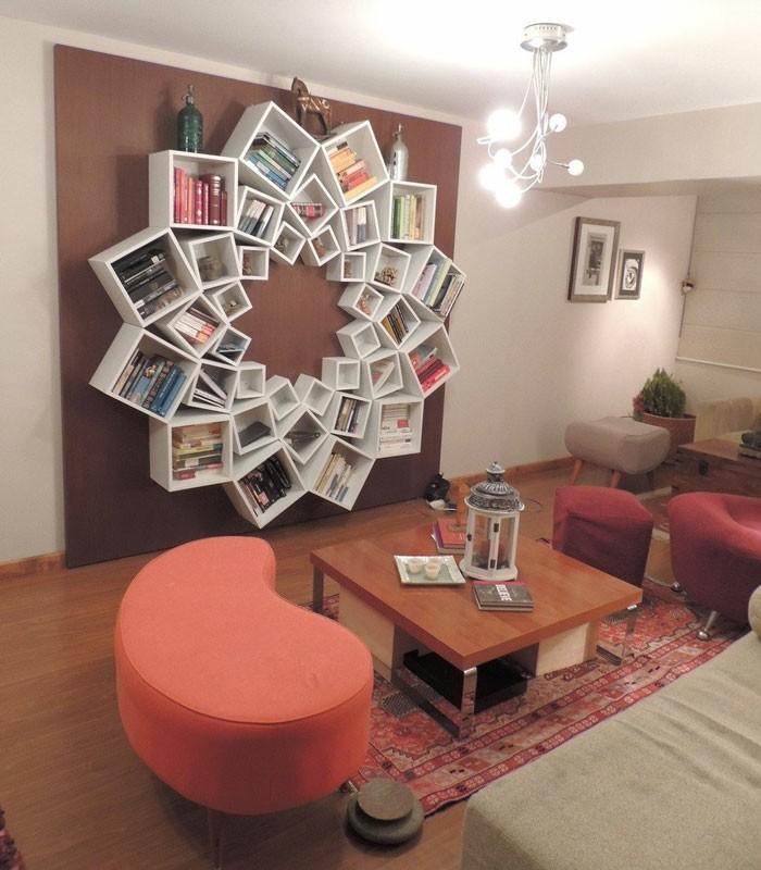bücherregal diy aus holz wohnzimmer ideen
