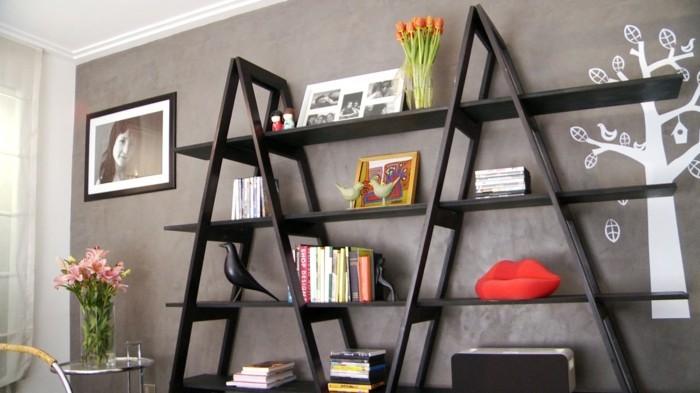 bücherregal diy idee wohnzimmer einrichten
