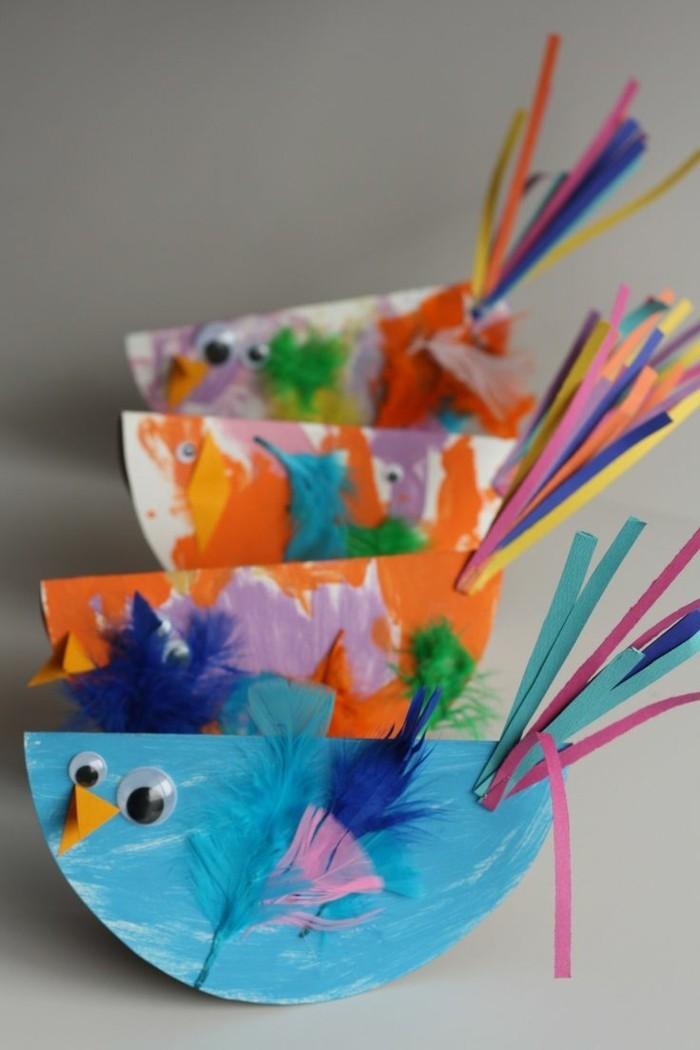 basteln mit papier karton fögel bastelideen fuer kleinkinder