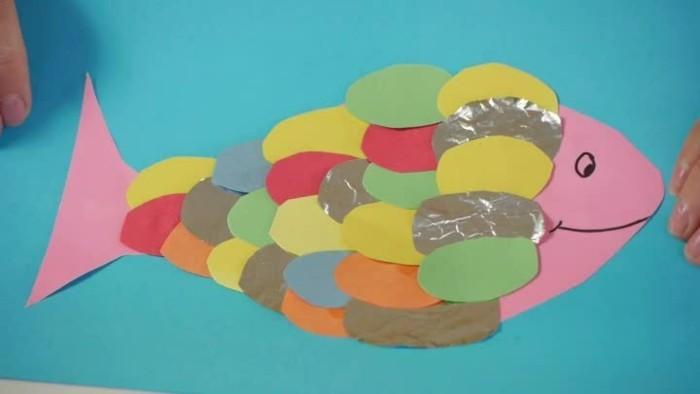 bastelpapier fisch malen basteln mit kleinkindern
