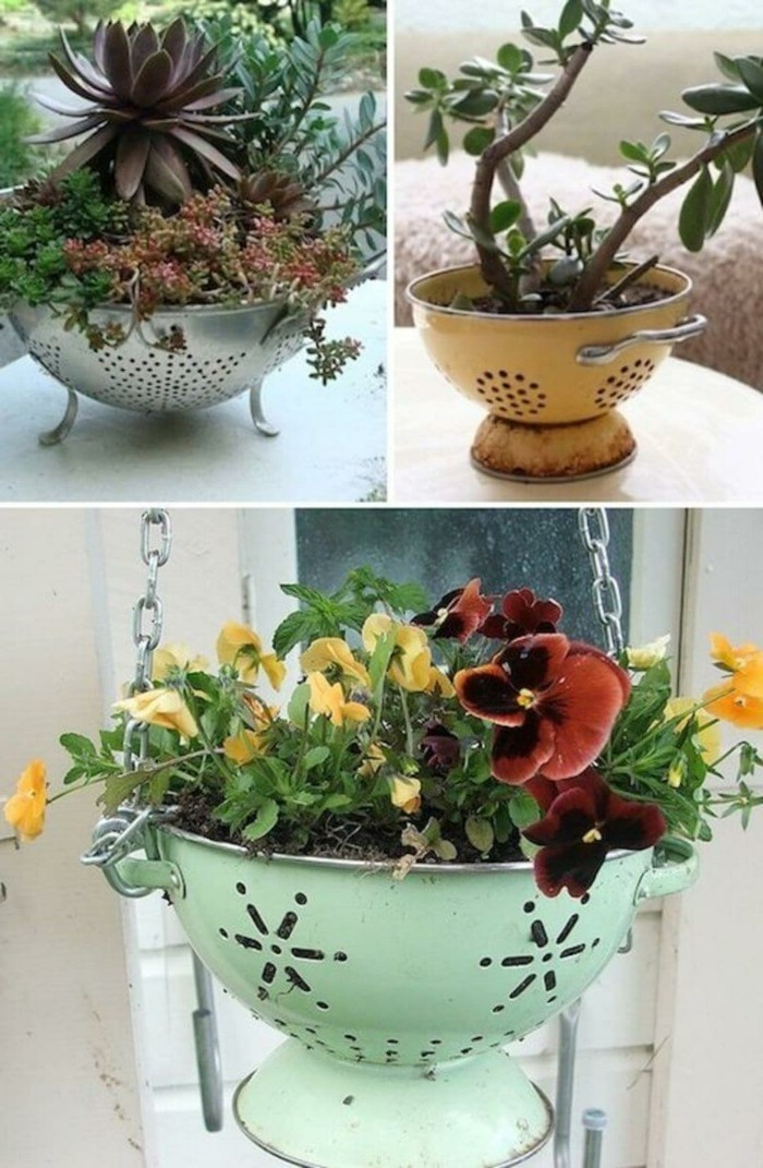 deko selber machen altes geschirr benutzen für einen ausgefallenen pflanzenbehälter