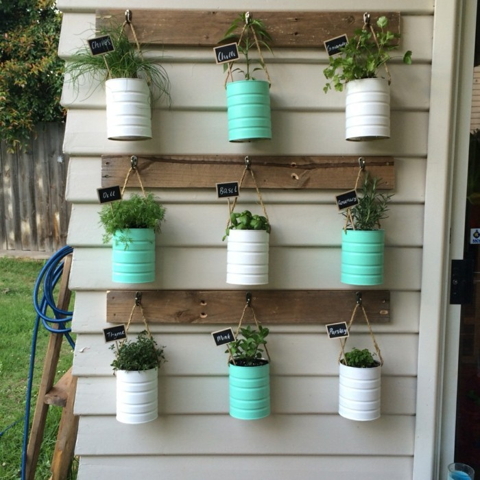 deko selber machen aus dosen pflanzenbehälter für die kräuter machen