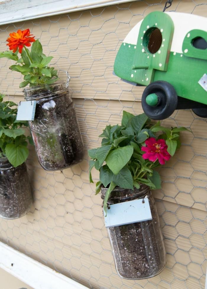 deko selber machen aus einmachgläsern ausgefallene pflanzenbehälter aufhängen