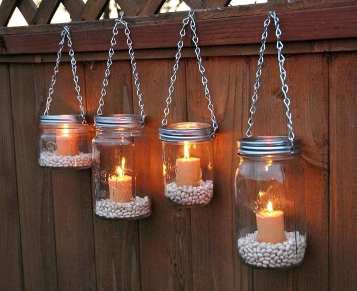 deko selber machen einmachgläser benutzen für die gartenbeleuchtung