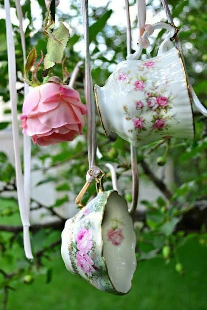 deko selber machen vintage dekoideen für den garten mit altem geschirr