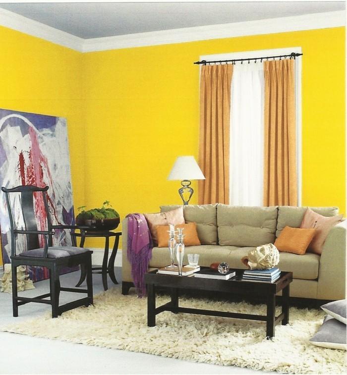 einrichtungsideen für das wohnzimmer gelbe wände und beiges wohnzimmersofa
