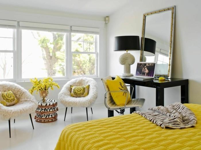 einrichtungsideen in gelb und weiß das schlafzimmer gestalten