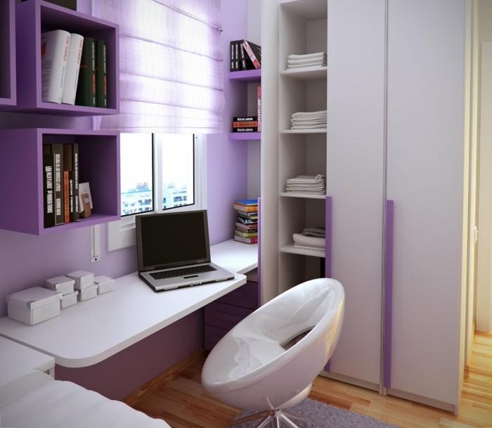 einrichtungsideen in lila für das kinderzimmer mit weißen möbelstücken