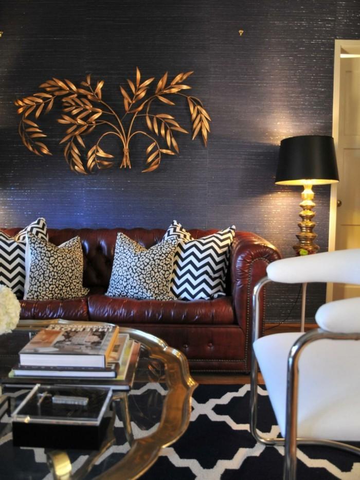 einrichtungsideen schware lampe ist toller akzent im wohnzimmer