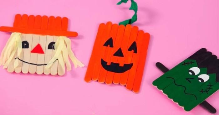 eisstiele holz bastelideen für kinder halloween