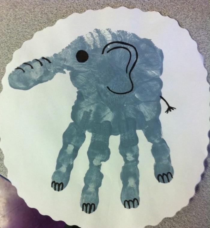 elefant malen mit kleinkindern bastelideen fingerfarben