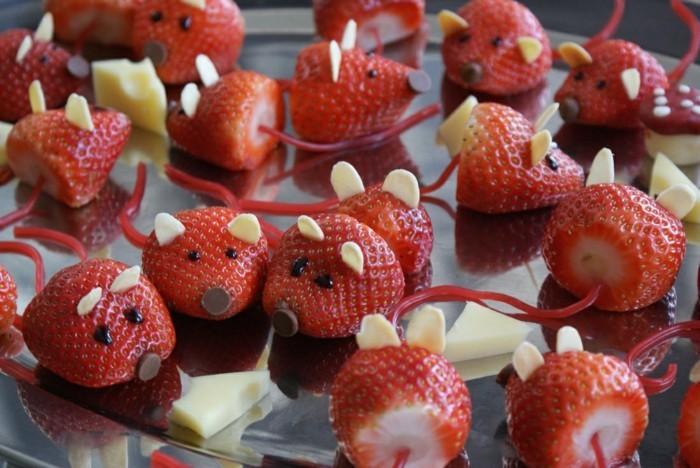 erdbeeren mäuse aus erdbeeren fingerfood ideen