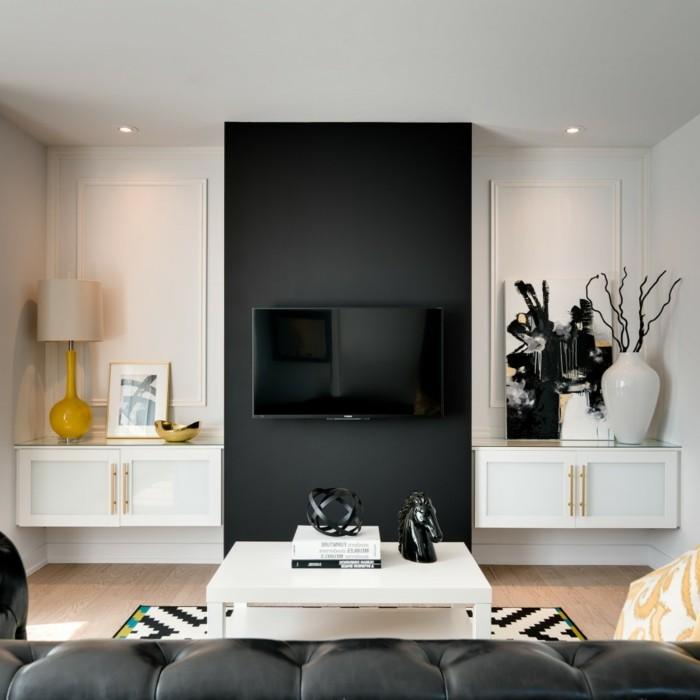 farben im innendesign schwarze akzentwand im wohnbereich