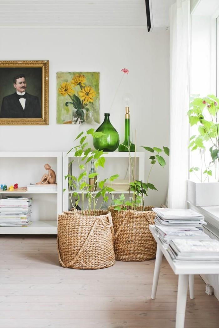 farben im modernen wohnzimmer trends mit geflochtenen accessoires