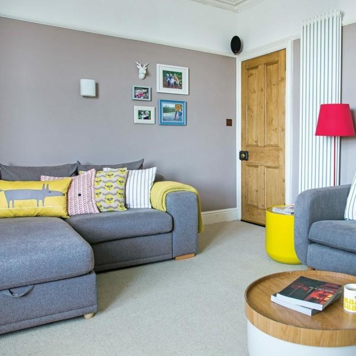 farben im wohnzimmer gelbe accessoires im garuen wohnzimmer