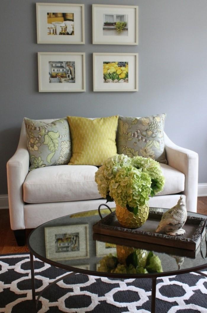 farben im wohnzimmer graue wandgetsaltung und akzente in hellgelb
