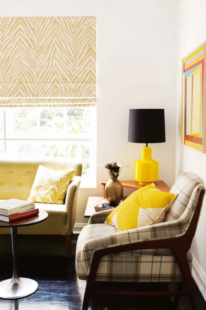 farben trendige farbtöne im wohnzimmer gelbe akzente