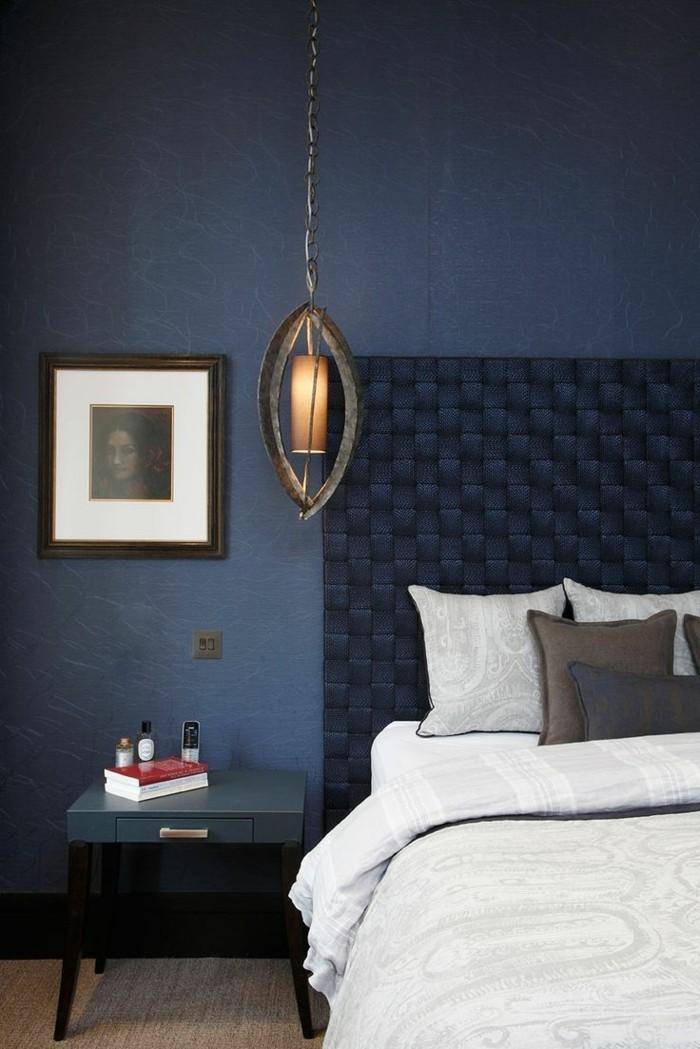 farben wandgestaltung in blau im schlafzimmer