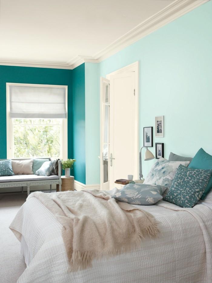 farbgestaltung ideen für das schlafzimmer blaunuancen kombinieren
