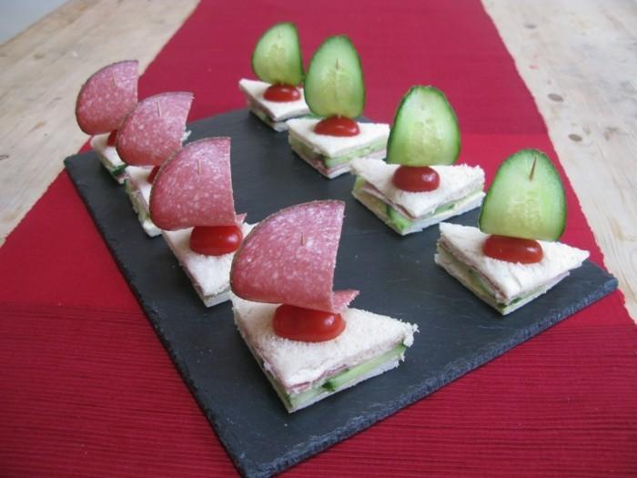 fingerfood kindergeburtstag ideen brote salami gurken