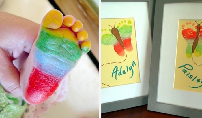 fußabdruck baby malen mit kleinkindern geschenkidee