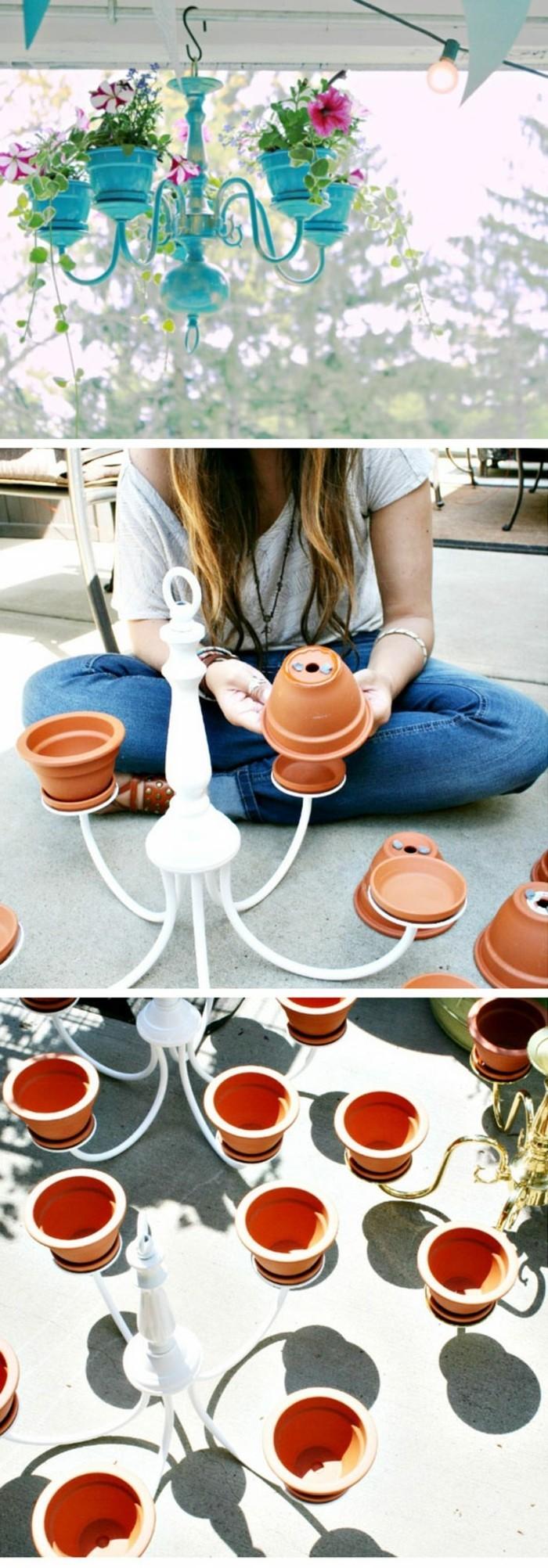 gartendeko selbstgemacht ideen wie sie einen ausgefallenen pflanzenbehälter aus leuchter machen